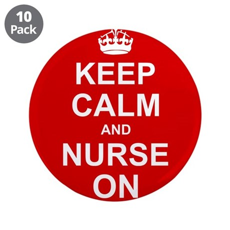 """Keep Calm and Nurse on 3.5"""" Button (10 pack)"""