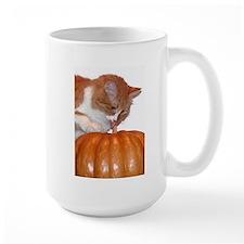 Cat Licking Pumpkin Mug
