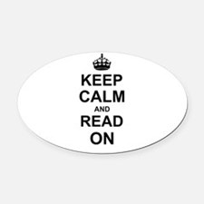 Keep Calm and Read on Oval Car Magnet