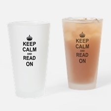 Keep Calm and Read on Drinking Glass