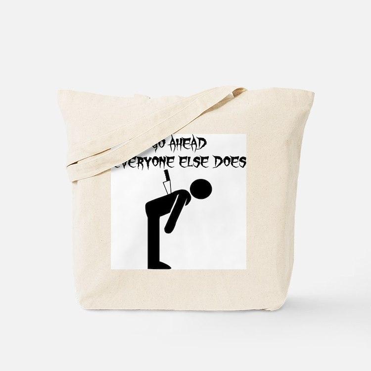 Knife In Back Tote Bag