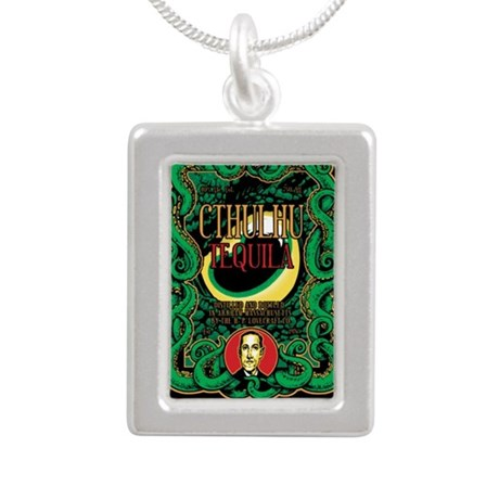 Cthulhu Tequila Silver Portrait Necklace