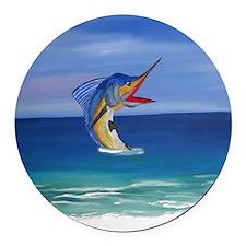 Happy Sailfish Art Round Car Magnet