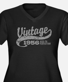 Vintage 1956 Women's Plus Size V-Neck Dark T-Shirt