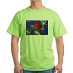 Northern Cardinal Bird (Front) Green T-Shirt