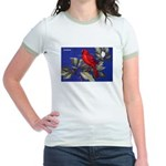 Northern Cardinal Bird (Front) Jr. Ringer T-Shirt