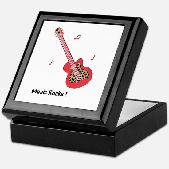 Personalized Red Leopard Guitar Keepsake Box