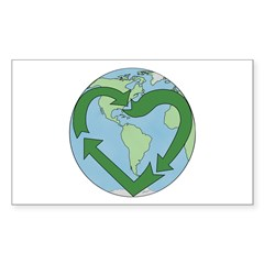 Recycle Earth (Heart) Rectangle Decal
