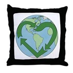 Recycle Earth (Heart) Throw Pillow