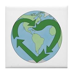 Recycle Earth (Heart) Tile Coaster