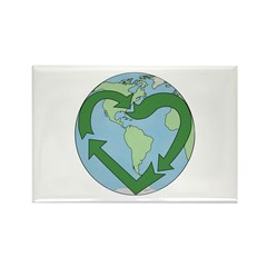 Recycle Earth (Heart) Rectangle Magnet (10 pack)