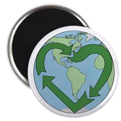 "Recycle Earth (Heart) 2.25"" Magnet (100 pack)"