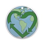 Recycle Earth (Heart) Ornament (Round)