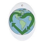 Recycle Earth (Heart) Oval Ornament