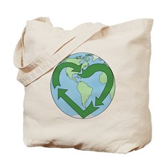 Recycle Earth (Heart) Tote Bag
