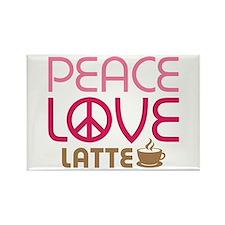 Peace Love Latte Rectangle Magnet