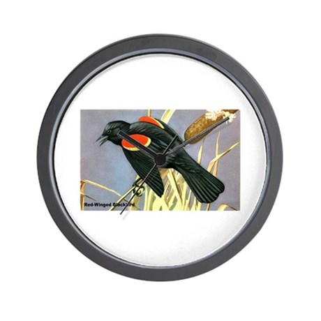 Red-Winged Blackbird Bird Wall Clock
