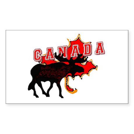 Canada Maple Leaf Moose Rectangle Sticker