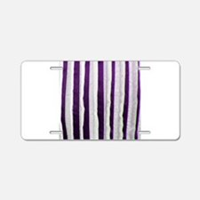 Purple Distressed Stripes Aluminum License Plate