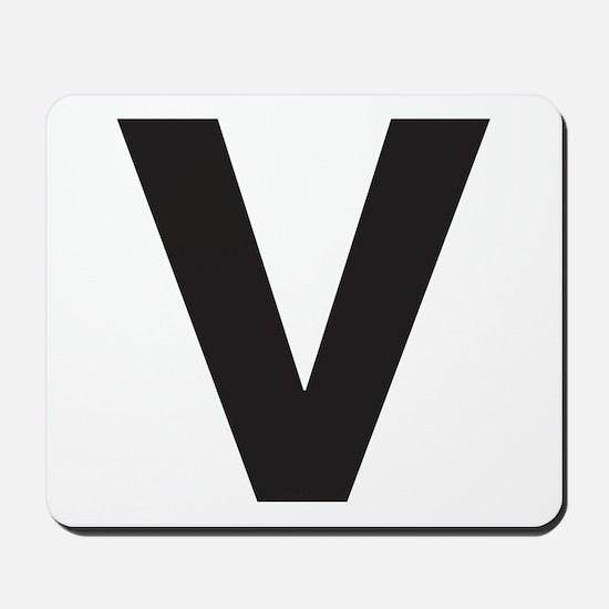 Letter V Black Mousepad