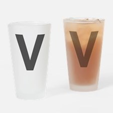 Letter V Dark Gray Drinking Glass