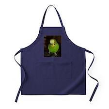 Green Budgie Bird Apron (dark)