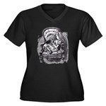 Alice & the Kitty Women's Plus Size V-Neck Dark T-
