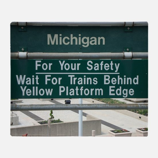 Warning Sign at the Detroit People M Throw Blanket