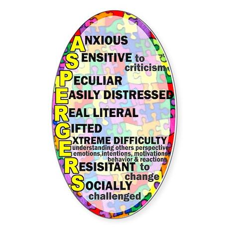 autism aspergers Sticker (Oval)