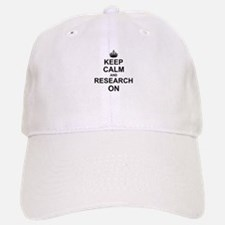 Keep Calm and Research on Baseball Baseball Cap