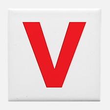 Letter V Red Tile Coaster