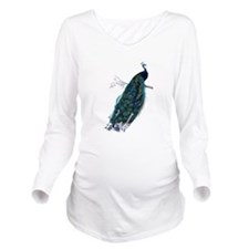 peacock Long Sleeve Maternity T-Shirt