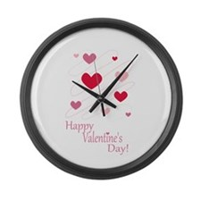 Happy Valentines Day Hearts Large Wall Clock