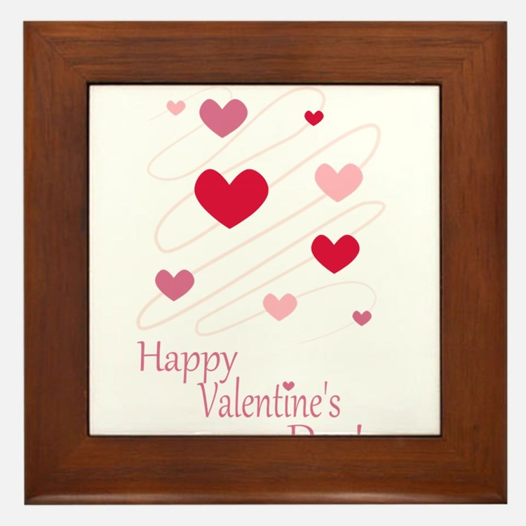 Happy Valentines Day Hearts Framed Tile