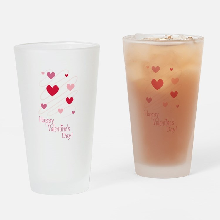 Happy Valentines Day Hearts Drinking Glass