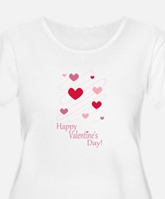 Happy Valentines Day Hearts Plus Size T-Shirt