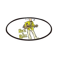 rock n roll guy playing guitar yellow Patches