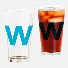 Letter W Blue Drinking Glass