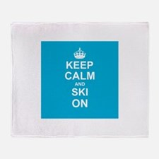 Keep Calm and Ski on Throw Blanket