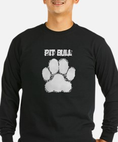 Pit Bull Distressed Paw Print Long Sleeve T-Shirt