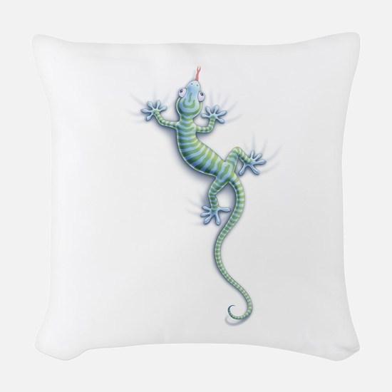 Hang On Gecko Woven Throw Pillow