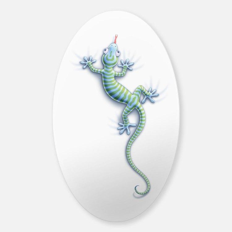 Hang On Gecko Sticker (Oval)