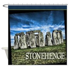 Great Britain with Caption Stonehenge Shower Curta