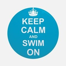 Keep Calm and Swim on Ornament (Round)