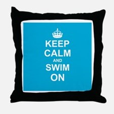 Keep Calm and Swim on Throw Pillow