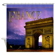 Night at Arc de Triomphe France Shower Curtain
