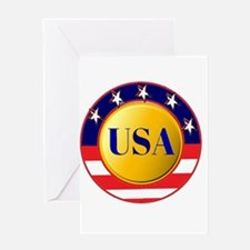 USA - Red White Blue Round Frame Greeting Cards