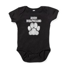 Irish Wolfhound Distressed Paw Print Baby Bodysuit