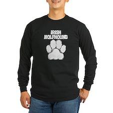 Irish Wolfhound Distressed Paw Print Long Sleeve T