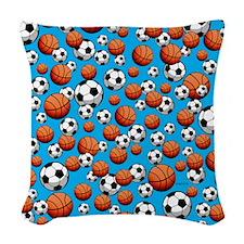 Basketball & Soccer Woven Throw Pillow